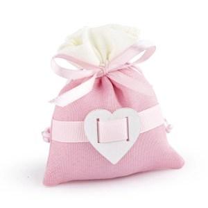 """sacchetto rosa """"love""""con cuore"""