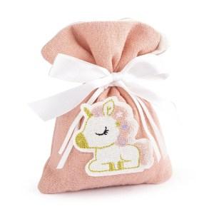 sacchetto rosa unicorno ricamato