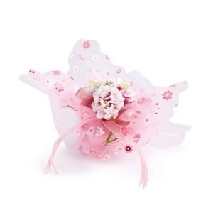 fazzoletto organza fiori rosa