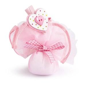 velo tondo bordo rosa con molletta cuore rosa