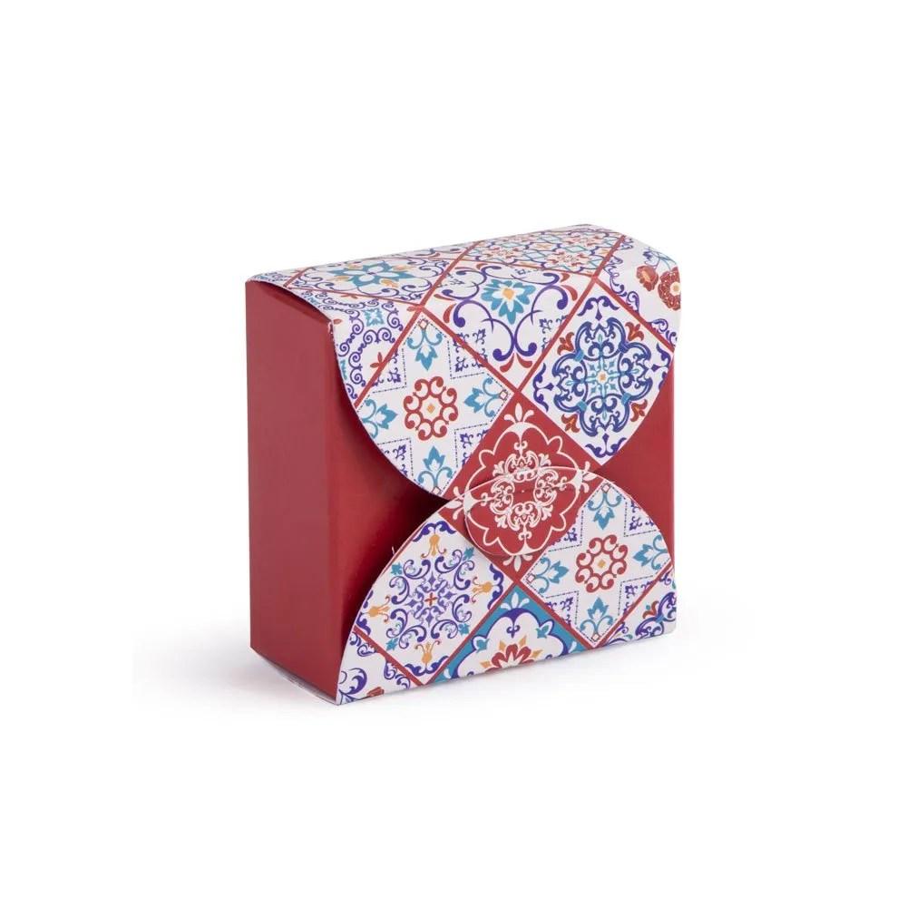 Scatolina portaconfetti piccola motivo ceramica bordeaux 5 X 5 CM -0