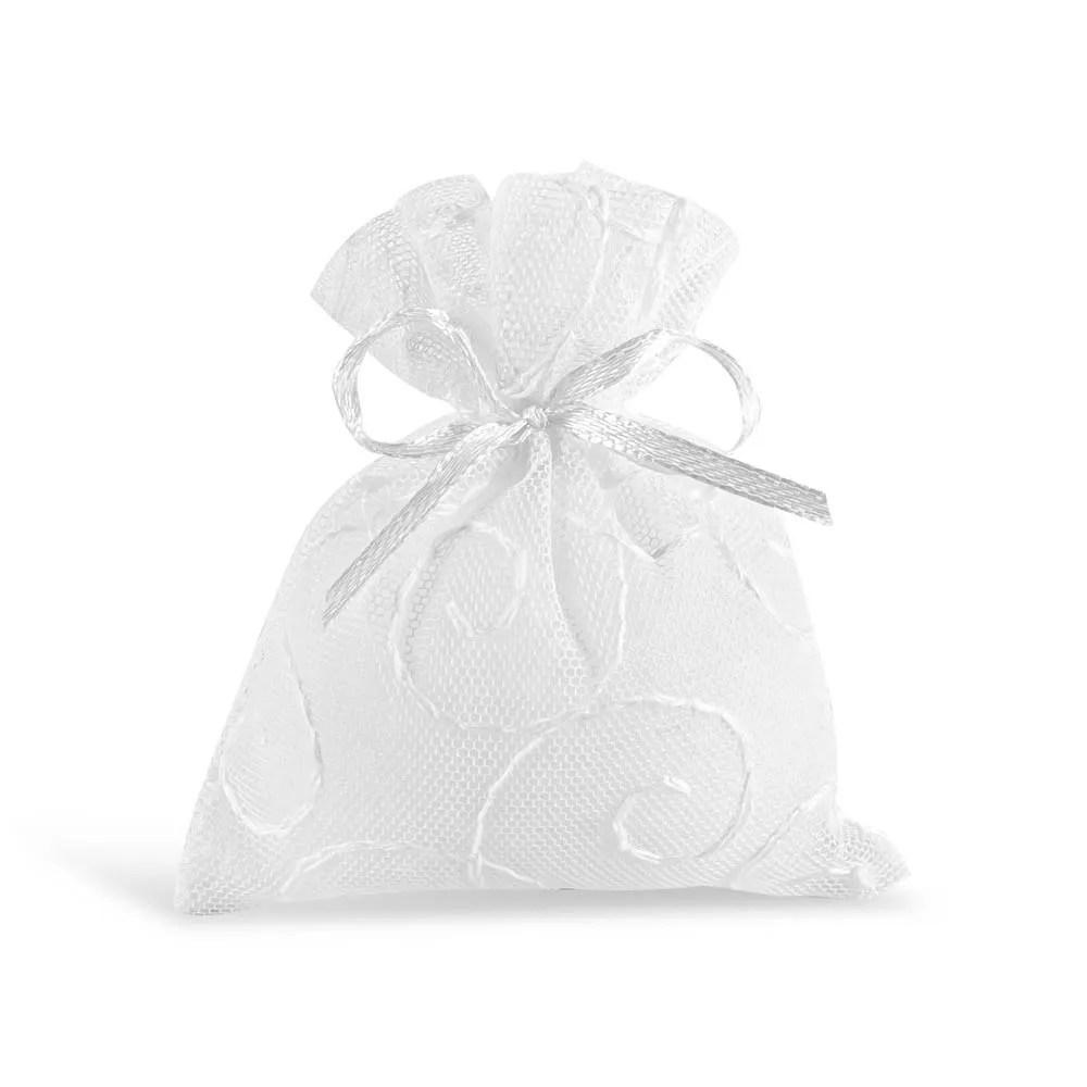 Sacchetto portaconfetti in tulle ricamato di colore bianco