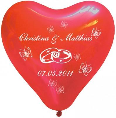 100 bedruckte Herzballons Schmetterlinge und Ringe