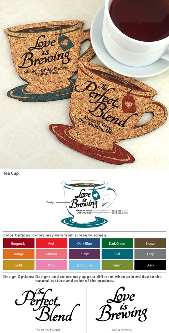 kitchen picnic table glass tiles for backsplashes personalized tea cup-shaped theme cork coasters (15 colors ...