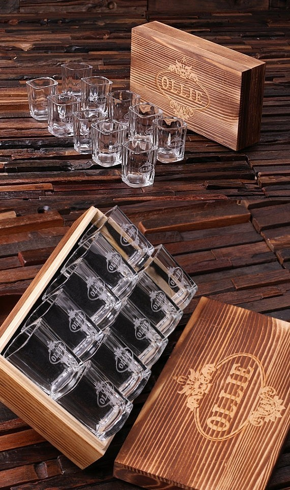 5 piece kitchen table set island with attached personalized of 10 shot glasses in keepsake wood gift ...
