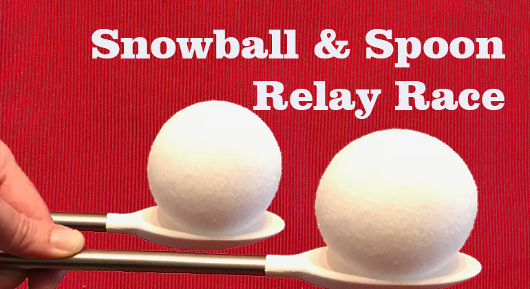 Snowball And Spoon Relay Race Kids Christmas Party Game