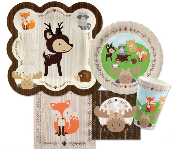Gender Neutral Woodland Animals Baby Shower Party Supplies    PartyIdeaPros.com