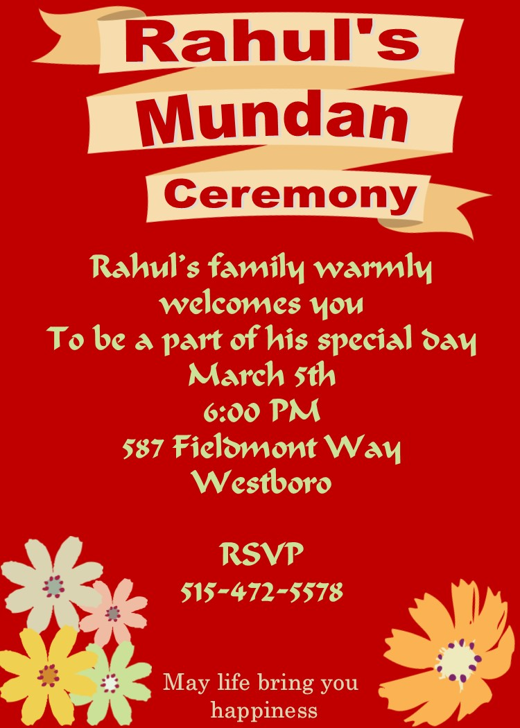 Mundan Or Chadakarana Invitations