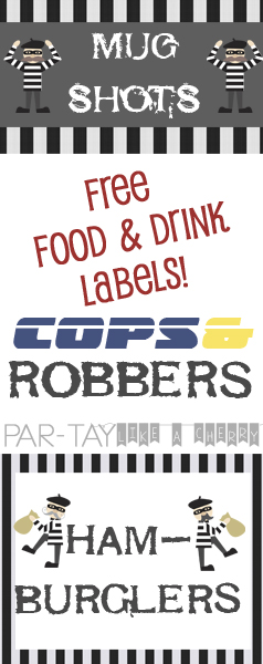 cops and robbers food and drink labels
