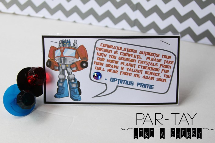 transfomer party favor free printable