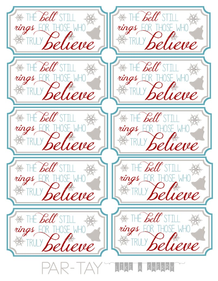 polar express bell party favor tags free printable