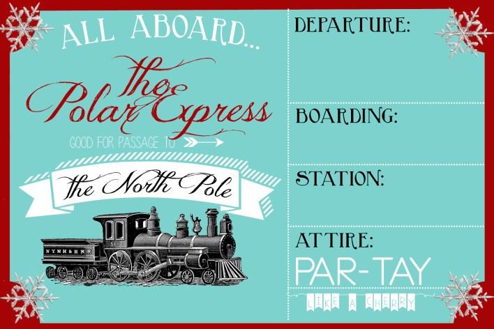 polar express invitation free printable template