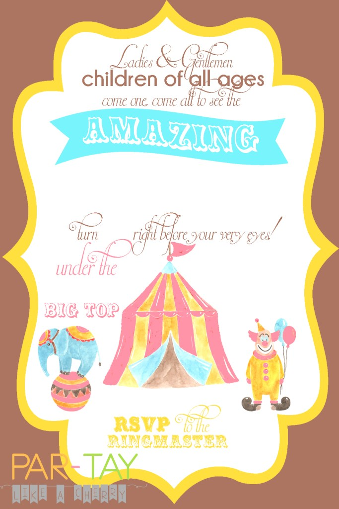 free editable girls circus party invitation