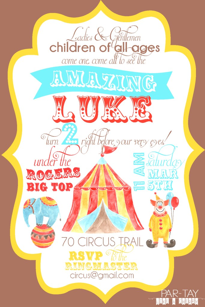 free editable birthday circus invitation