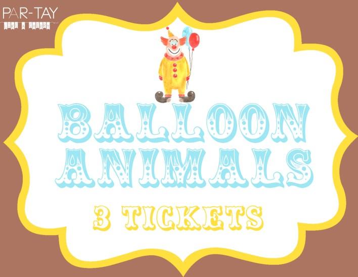 balloon animal circus party free printable sign