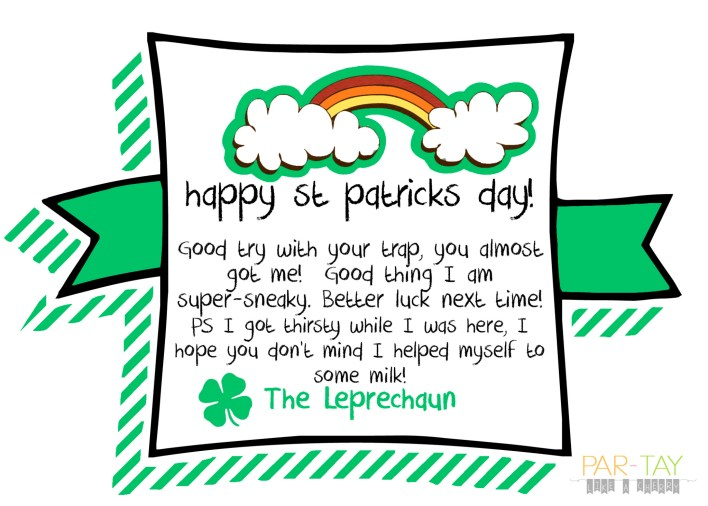 leprechaun note for st patricks day
