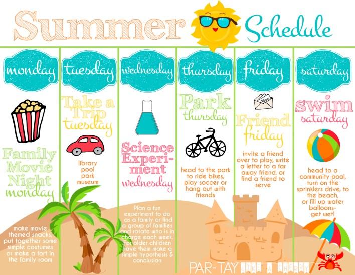 summer boredom blaster weekly schedule free printable