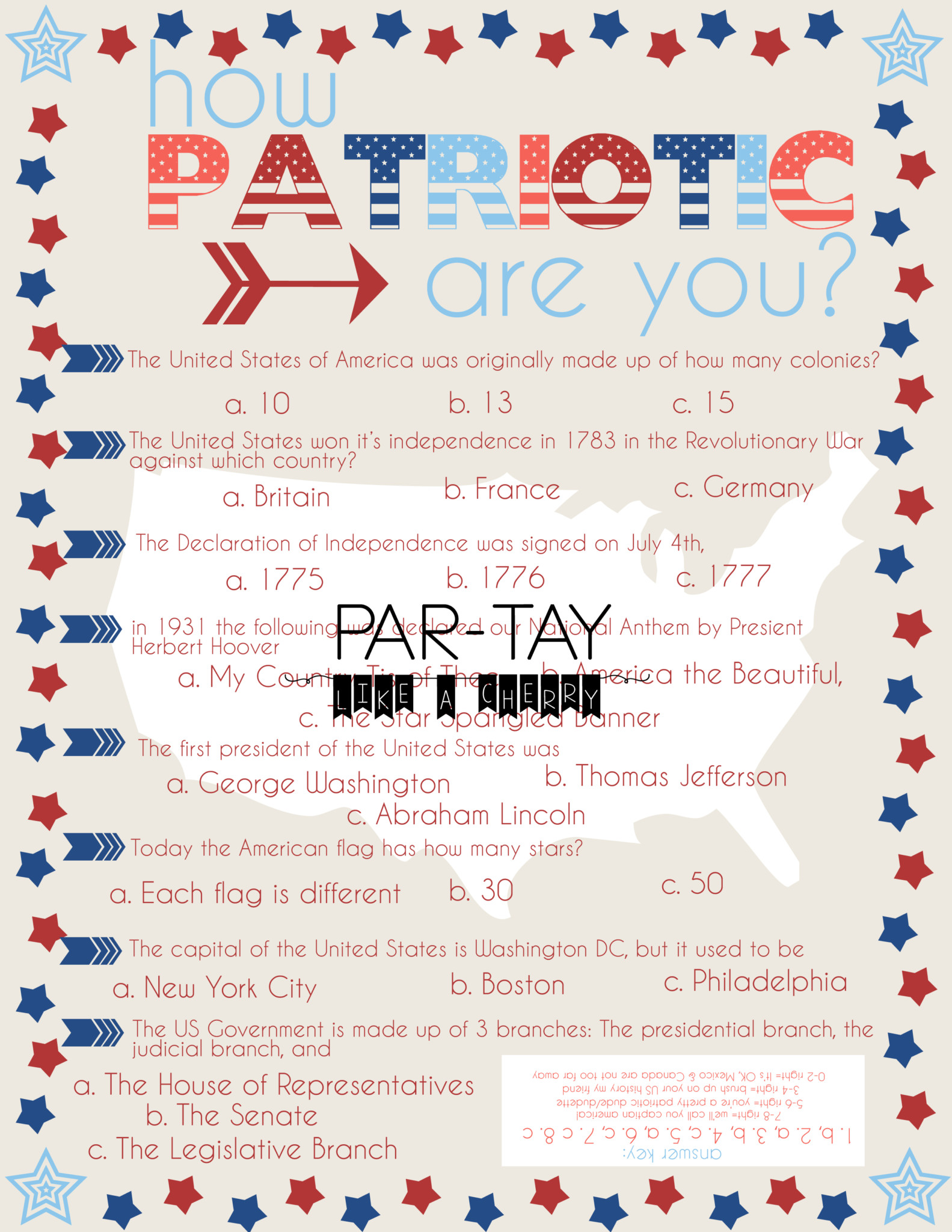 4th Of July Party Game Quiz
