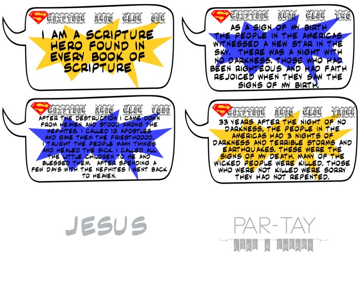 Jesus scripture hero clue cards great for primary or FHE