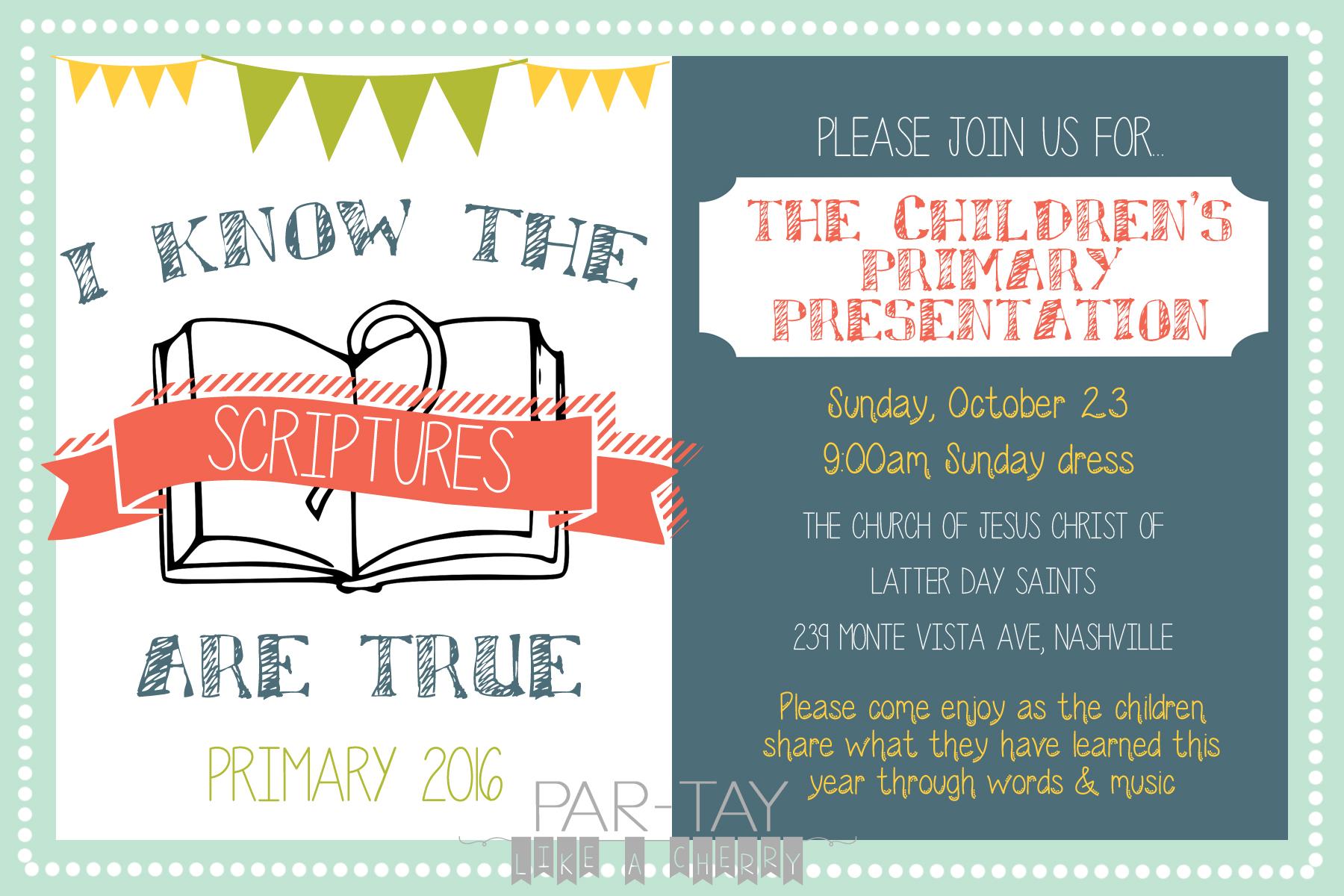 2016 Primary Program Invitation Party Like A Cherry