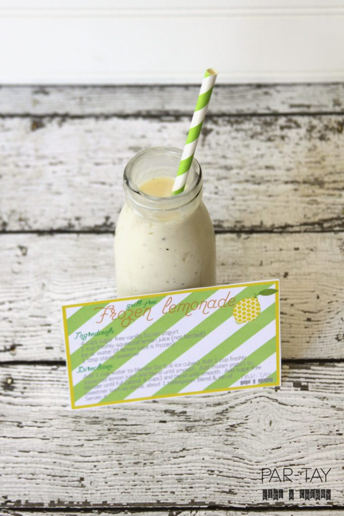 frozen lemonade recipe card free printable