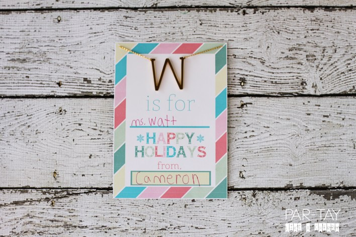 holiday teacher gift idea and free printable