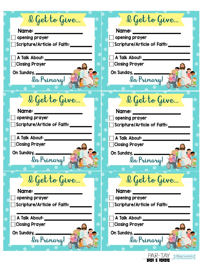 primary 2019 assignment stickers, assign talks, prayers, articles of faith and scriptures