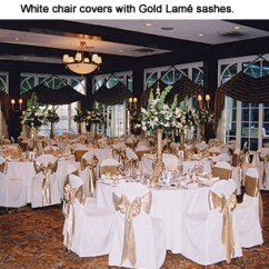 Gold Chair Covers With Black Sash Top Pc Gaming Chairs Party Linens Cairs Sashes Napkins