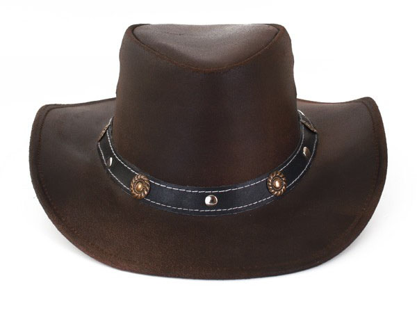 leather brown cowboy hat
