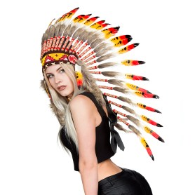 Native American Indian feather headdress warbonnet - long