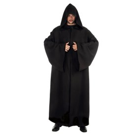 Black cloak/robe with hood 180 cm