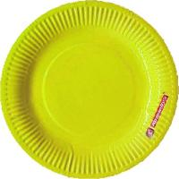 Sunny Yellow Solid Color Paper Plates - ( Set Of 10