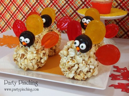 turkey popcorn ball, lollipop dessert, cute food, thanksgiving treat, kid friendly thanksgiving