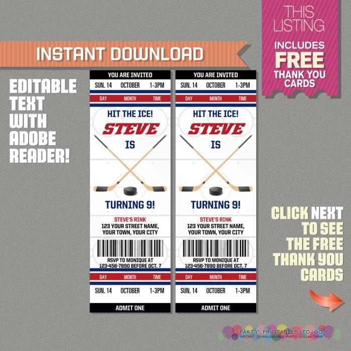 ice hockey ticket invitation with free thank you card