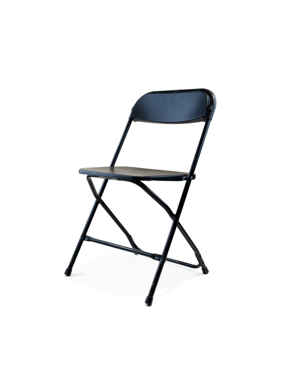 folding chair emoji handicap shower chairs swivel plastic black 1 25 party rentals delivered prev