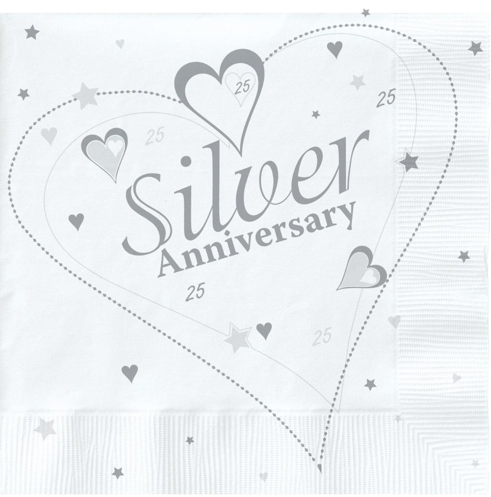 Silver Wedding Anniversary 25th Party Napkins Serviettes Buy Online