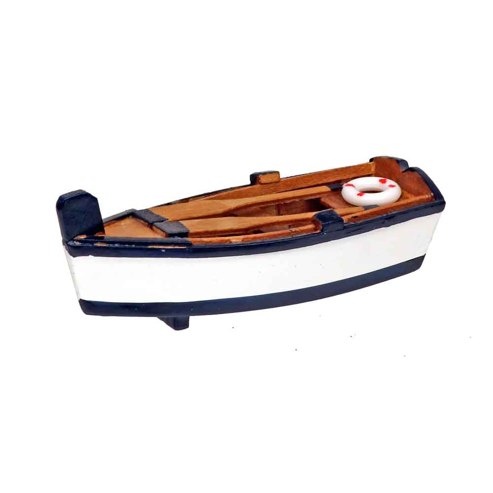 Mini Wooden Rowboat Accent  Fishing  Nautical