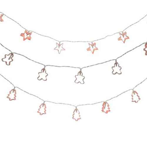 6' Copper Cookie Cutter Battery-Operated String Light