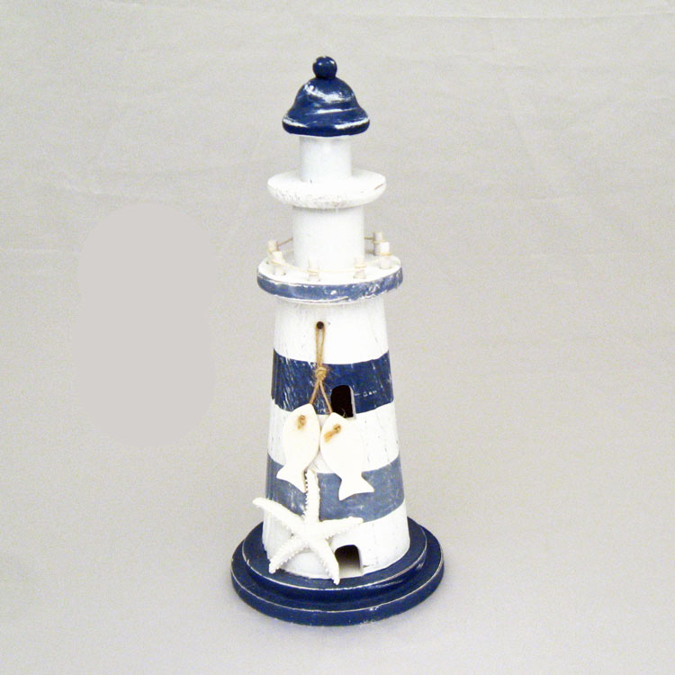 11 Blue Amp White Striped Wood Lighthouse With Starfish