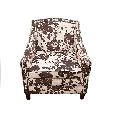 cow print chair camping chairs with shade lounge party time rentals hide
