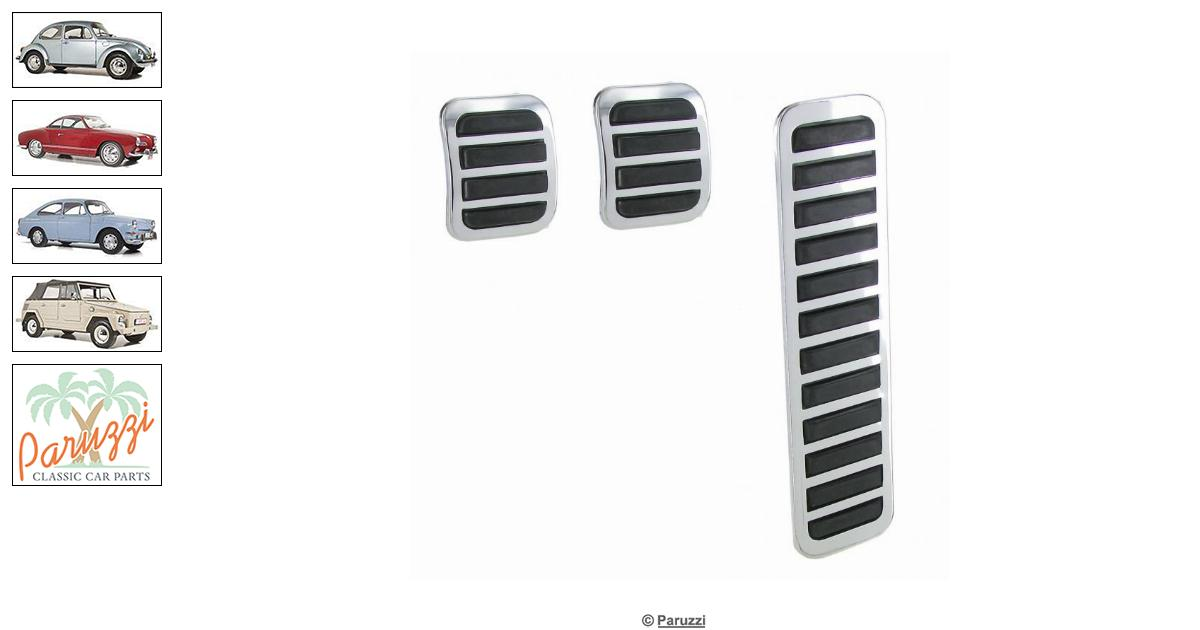 Volkswagen Beetle Chrome pedal cover set (3 pieces) number 254