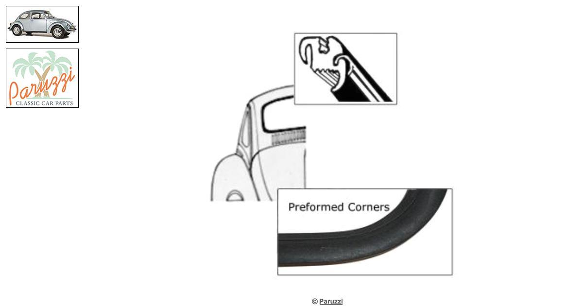 Volkswagen Beetle Rear window seal deluxe (with molding
