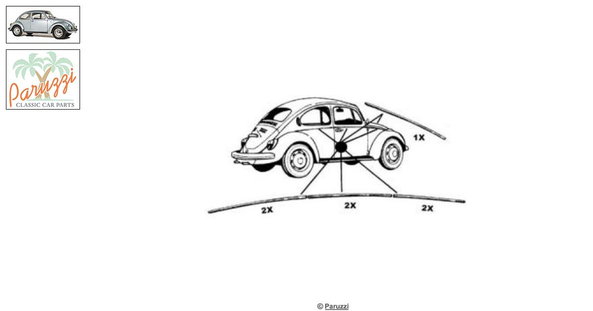 Volkswagen Beetle Molding kit (7 pieces) A-quality number