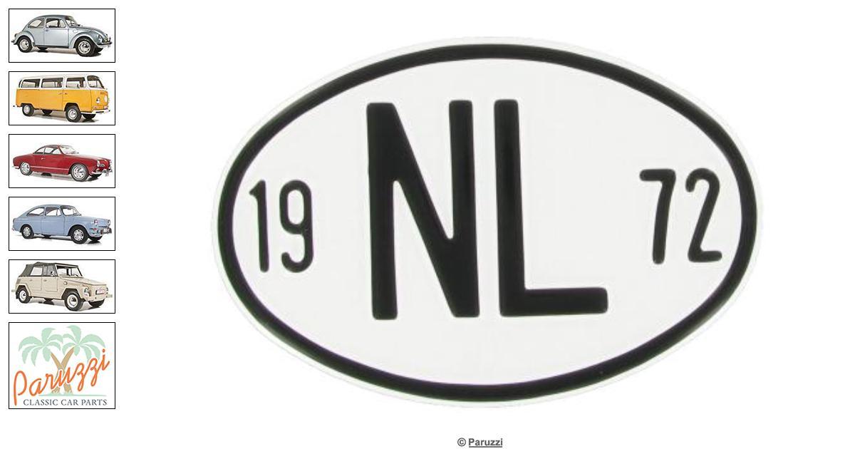 Volkswagen Beetle Origin plate: NL 1972 number 9525