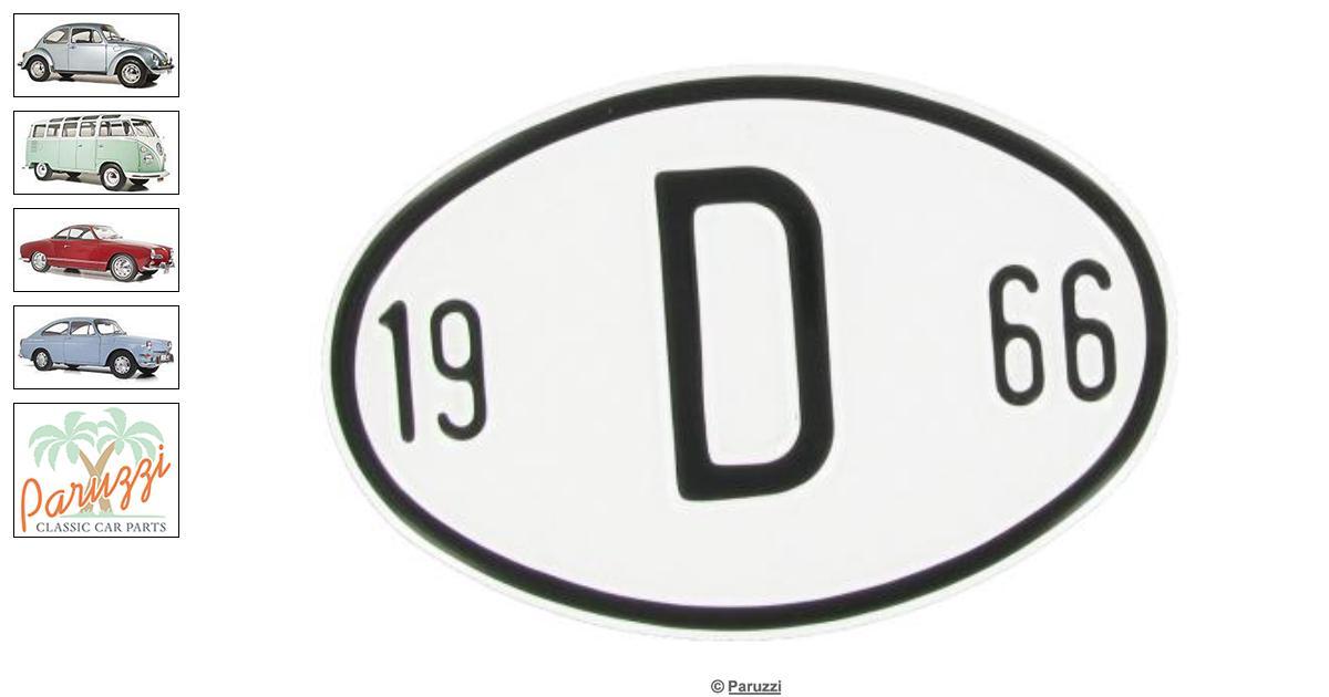 Volkswagen Beetle Origin plate: D 1966 number 9639