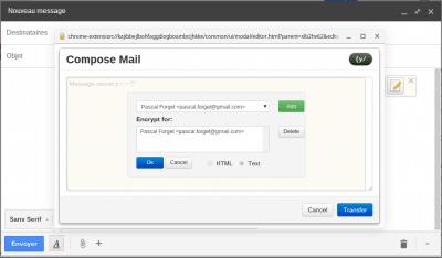 Ajouter destinataire Composer un message Mailvelope