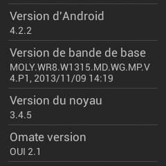 Version d'Android TrueSmart Omate