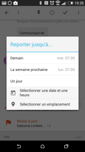 Google Inbox reporter courriels au moment opportun