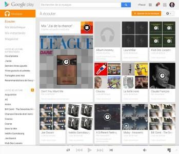 L'interface de Google Play Musique