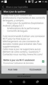 Mise à jour Lollipop 5 HTC One M8